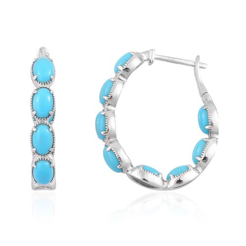 Arizona Sleeping Beauty Turquoise (Ovl) Hoop Earrings in Platinum Overlay Sterling Silver 4.500 Ct.