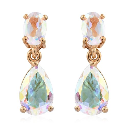 Mercury Mystic Topaz (Pear) Earrings (with Push Back) in 14K Gold Overlay Sterling Silver 4.000 Ct.