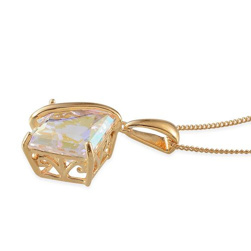 Mercury Mystic Topaz (Sqr) Solitaire Pendant With Chain in 14K Gold Overlay Sterling Silver 6.000 Ct.