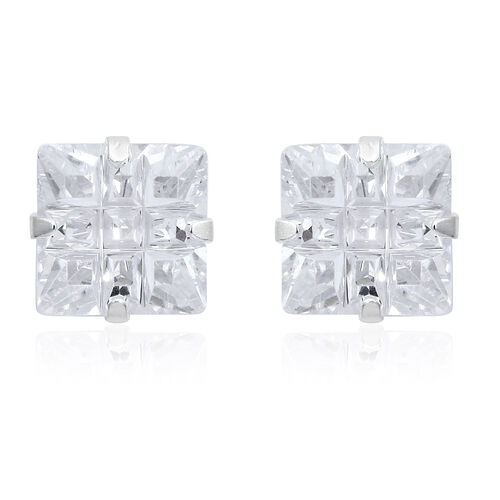 Set of 2 - Simulated White Diamond (Rnd and Sqr) Stud Earrings (with Push Back) in Sterling Silver, Silver wt 3.00 Gms.
