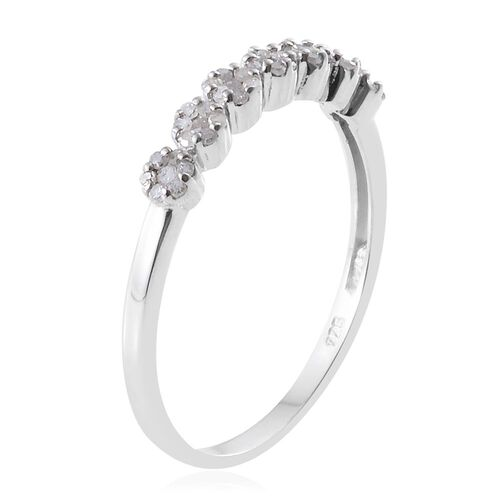 Diamond (Rnd) Pressure Set Floral Ring in Platinum Overlay Sterling Silver 0.330 Ct.