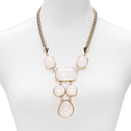 Simulated Rutile Quartz Necklace (Size 22) in Gold Tone