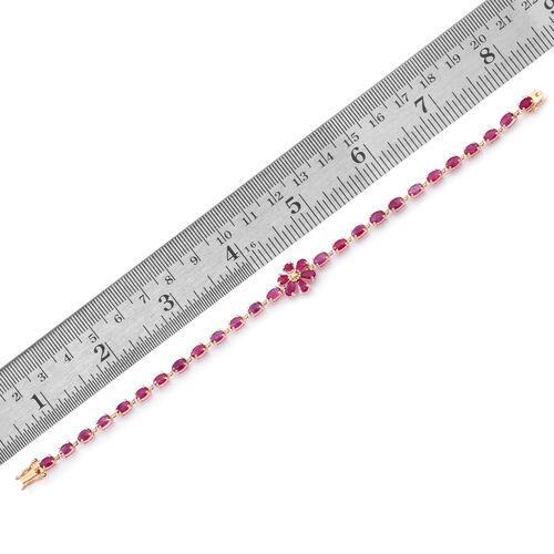 9K Y Gold Burmese Ruby (Ovl), Diamond Floral Bracelet (Size 7.5) 8.250 Ct.