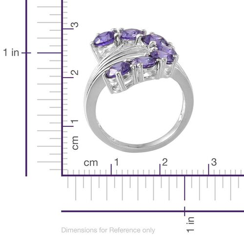 AAA Simulated Tanzanite (Rnd) 7 Stone Ring in Sterling Silver 5.750 Ct.