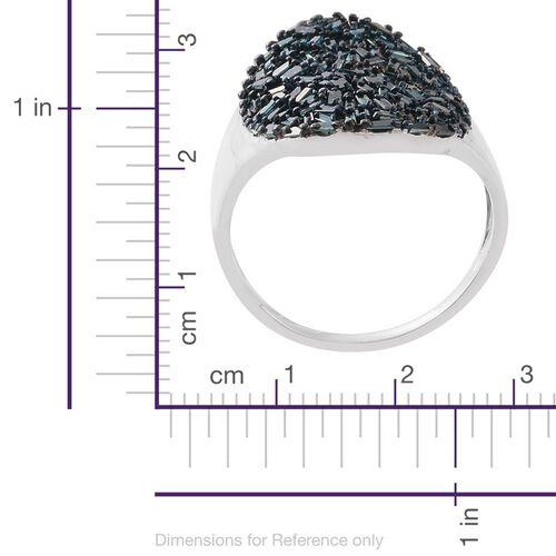 Designer Inspired-Blue Diamond (Bgt) Cluster Ring in Platinum Overlay Sterling Silver 1.500 Ct.
