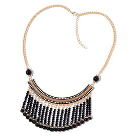 Simulated Black Spinel, Simulated Black Pearl and White Austrian Crystal Waterfall Necklace (Size 20 with 2 inch Extender) in Yellow Gold Tone