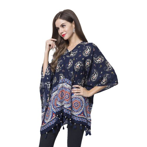Navy, Red and Multi Colour Bandana Pattern Poncho with Wooden Beads Adorned Tassels (Size 130X95 Cm)