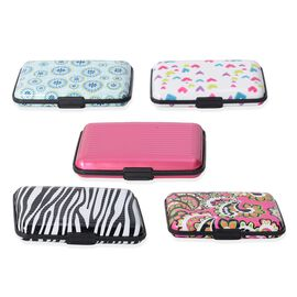 Set of 5 - Rose Pink and Multi Colour Pattern RFID Blocking Water Resistant Card Holders (Size 11x7x2 Cm)