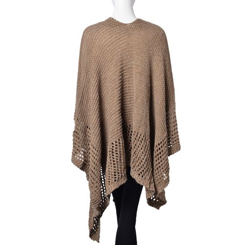 Chocolate Colour Crochet Pattern Knitted Kimono (Size 130X58 Cm)