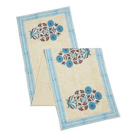 100% Cotton White, Light Blue and Multi Colour Hand Block Printed Floral Pattern Runner (Size 170x40 Cm) with Two Napkins (Size 40x40 Cm)