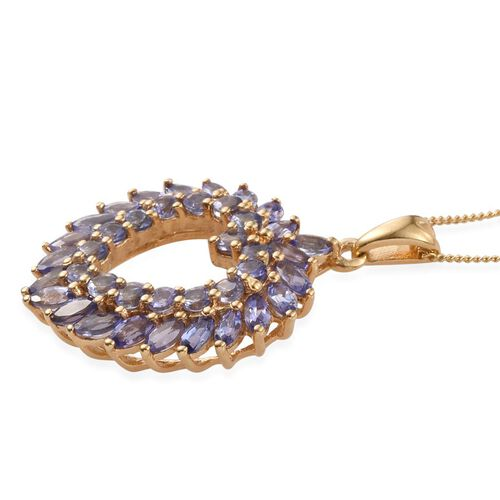 Tanzanite (Mrq) Heart Pendant With Chain in 14K Gold Overlay Sterling Silver 3.500 Ct.