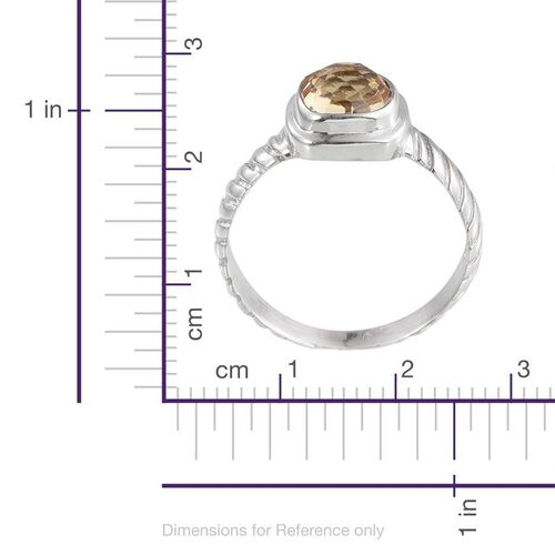 Citrine (Cush) Solitaire Ring in Sterling Silver 1.870 Ct.