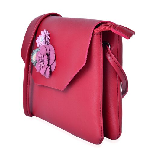 Burgundy and Multi Colour 3D Flower Adorned Crossbody Bag (Size 19X17 Cm)
