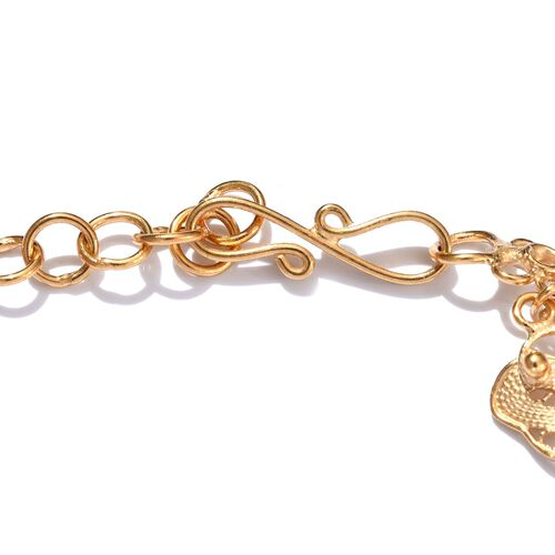 JCK Vegas Collection Yellow Gold Overlay Sterling Silver Butterfly Bracelet (Size 8), Silver wt 8.60 Gms.