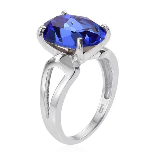 Crystal from Swarovski - Sapphire Colour Crystal (Ovl) Solitaire Ring in Platinum Overlay Sterling Silver