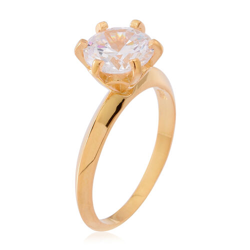 ELANZA AAA Simulated White Diamond (Rnd) Solitaire Ring in 14K Gold Overlay Sterling Silver