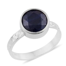 Rare Size Indian Sapphire  (Rnd) Solitaire Ring in Rhodium Plated Sterling Silver 5.050 Ct