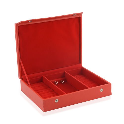 Faux Leather Red Colour Jewellery Box (Size 25X20 Cm)