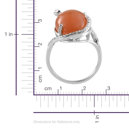 Mitiyagoda Peach Moonstone (Ovl 9.50 Ct), Diamond Ring in Platinum Overlay Sterling Silver 9.510 Ct.