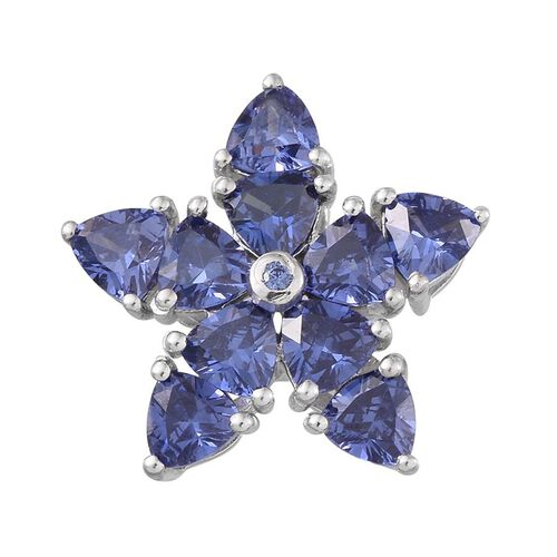 ELANZA AAA Simulated Tanzanite (Trl) Floral Pendant in Platinum Overlay Sterling Silver