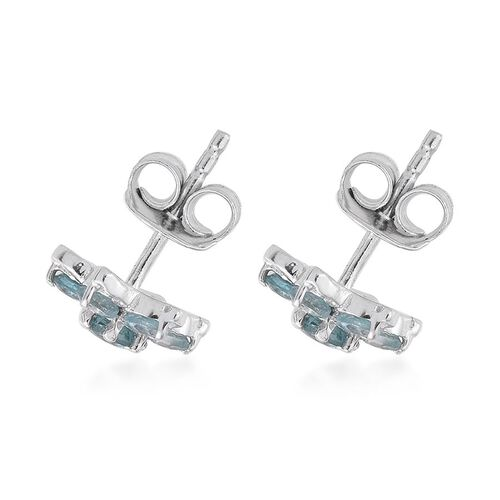 AA Natural Cambodian Blue Zircon (Rnd) Floral Stud Earrings in Platinum Overlay Sterling Silver 1.750 Ct.