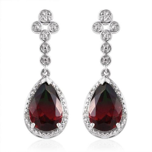 Tourmaline Colour Quartz (Pear), Diamond Earrings in Platinum Overlay Sterling Silver 8.820 Ct.