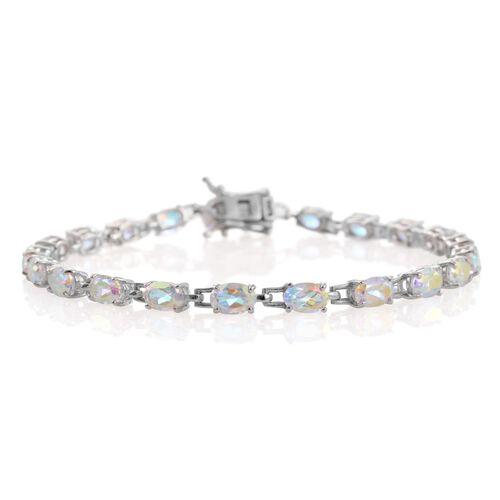 Mercury Mystic Topaz (Ovl) Bracelet (Size 7.5) in Platinum Overlay Sterling Silver 11.250 Ct.