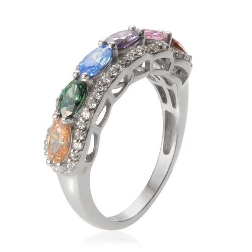 J Francis - Platinum Overlay Sterling Silver (Ovl) Ring Made with Pink, Amethyst, Red, Blue, Green, Yellow and White SWAROVSKI ZIRCONIA 1.692 Ct.