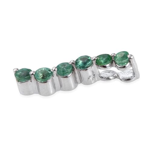 Brazilian Emerald (Rnd) Pendant in Platinum Overlay Sterling Silver 0.500 Ct.