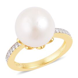 South Sea White Pearl (Rnd 11-12 mm), Natural White Cambodian Zircon Ring in Yellow Gold Overlay Sterling Silver