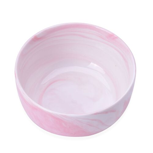 Super Auction-Set of 4 - Pink and White Colour Marble Pattern Ceramic Bowl (Size 10.5X5 Cm)