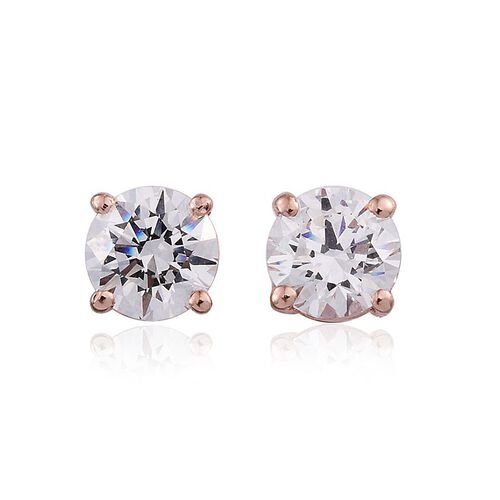 J Francis - Rose Gold Overlay Sterling Silver (Rnd) Stud Earrings (with Push Back) Made with SWAROVSKI ZIRCONIA
