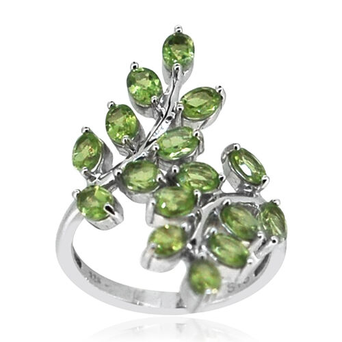 Hebei Peridot (Ovl) Crossover Ring in Rhodium Plated Sterling Silver 3.500 Ct.