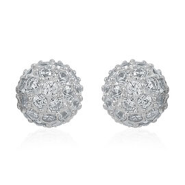 ELANZA AAA Simulated Diamond (Rnd) Stud Earrings (with Push Back) in Sterling Silver