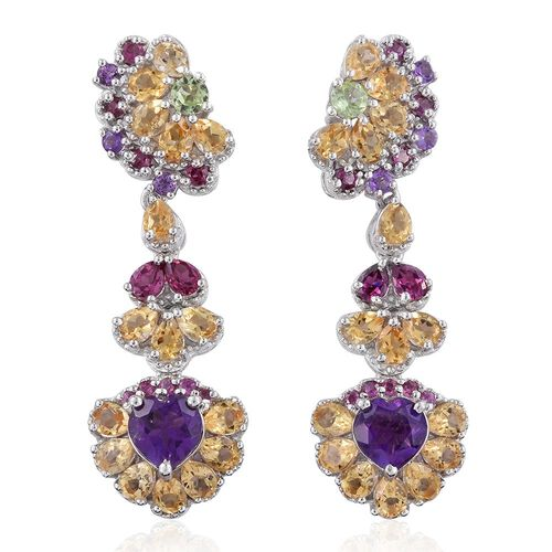 GP Amethyst (Hrt), Rhodolite Garnet, Hebei Peridot and Multi Gem Stone Earrings (with Push Back) in Platinum Overlay Sterling Silver 9.500 Ct.