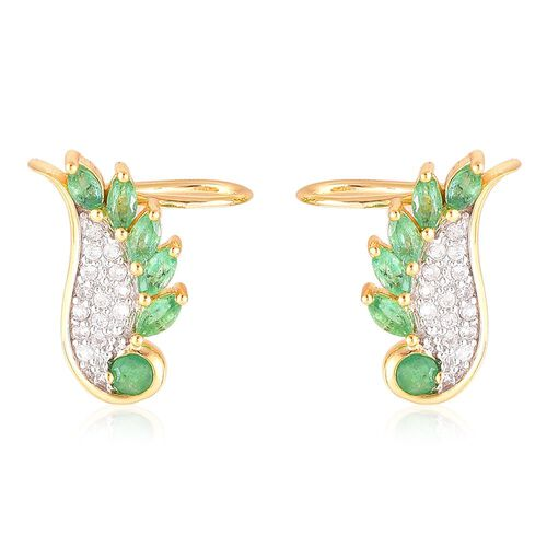Kagem Zambian Emerald (Rnd), Natural White Cambodian Zircon Angel Wings Earrings (with Push Back) in Yellow Gold Overlay Sterling Silver 1.250 Ct.