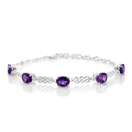 Super Auction- Super Bargain Price- African Amethyst (Ovl) Bracelet (Size 7.5) in Sterling Silver 5.750 Ct. Silver wt 6.55 Gms.