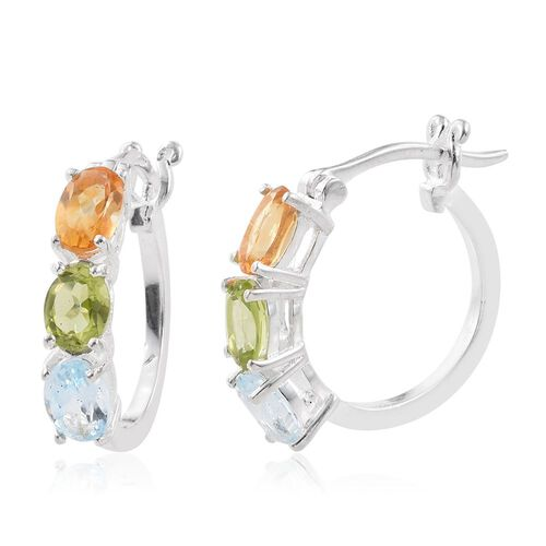Hebei Peridot (Ovl), Citrine and Sky Blue Topaz Hoop Earrings (with Clasp) in Sterling Silver. Total Gem Wt. 3.25 Ct