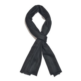 Limited Available - 100% Fine Cashmere Wool Black Colour Shawl (Size 200x70 Cm)