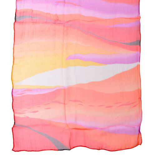 100% Mulberry Silk Orange, Red, Pink and Multi Colour Water Pattern Scarf (Size 170x50 Cm)