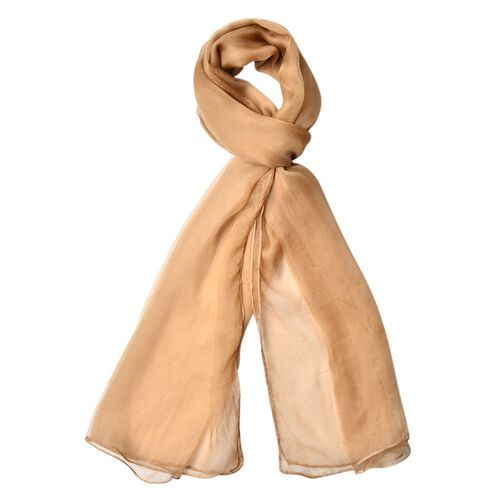 100% Mulberry Silk Iced Coffee Colour Scarf (Size 170X70 Cm)