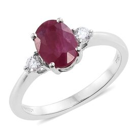 RHAPSODY 950 Platinum AAAA Burmese Ruby (Ovl 1.65 Ct), Diamond (VS/E-F) Ring 1.750 Ct.