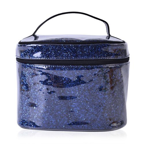 Dark Blue Colour PVC Cosmetic Bag (Size 23x16x16 Cm)