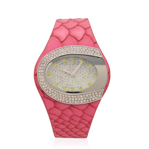 STRADA Japanese Movement White and Yellow Austrian Crystal Watch in Silver Tone with Snake Embossed Rose Red Colour Strap