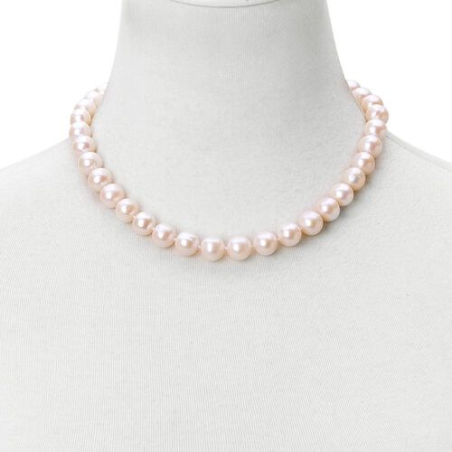 Exclusive Edition- ILIANA 18K Yellow Gold AAAA High Lustre Fresh Water Natural White Pearl (11-12 mm) Ball Bead Necklace (Size 18 with 2 inch Extender)