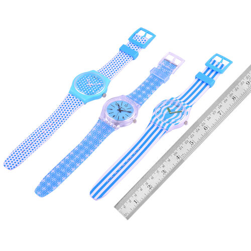 Set of 3 - STRADA Japanese Movement Blue and White Colour Stripes, Polka Dots and Floral Pattern Watch with Silicone Strap