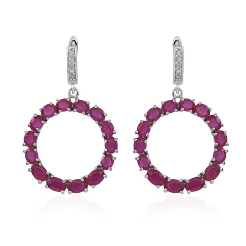 African Ruby (Ovl), White Topaz Earrings (with Clasp) in Rhodium Plated Sterling Silver 15.000 Ct.