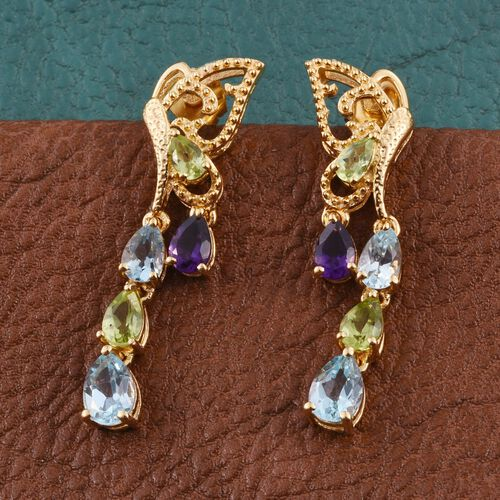Sky Blue Topaz (Pear), Amethyst, Hebei Peridot and Kanchanaburi Blue Sapphire Earrings (with Push Back) in 14K Gold Overlay Sterling Silver 4.500 Ct.