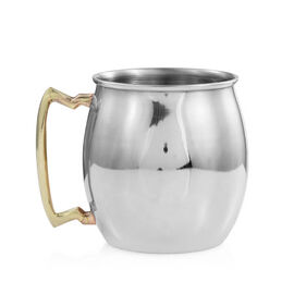 Barrel Shape Moscow Mule Mug in Stainless Steel (Size 10x7 Cm)