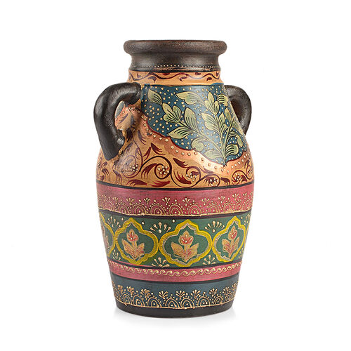 Limited Edition - Designer Inspired Hand Painted Floral Terracotta Vase Green, Pink and Multi Colour